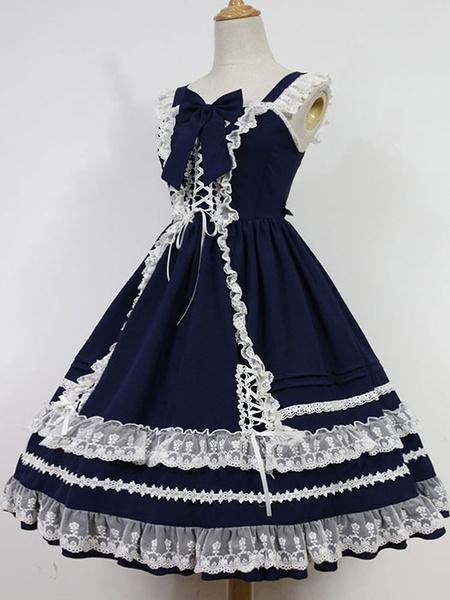 Milanoo Sweet Lolita Jsk Jumper Skirt Antique Dolls Kawaii High Waist Jsk With Ruffles Original Design