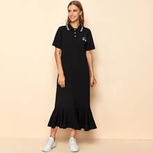 Striped Trim Collar Buttoned Half Placket Patched Detail Dress