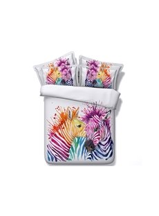 Colorful Zebra Couple Printed 4-Piece White 3D Bedding Sets/Duvet Covers