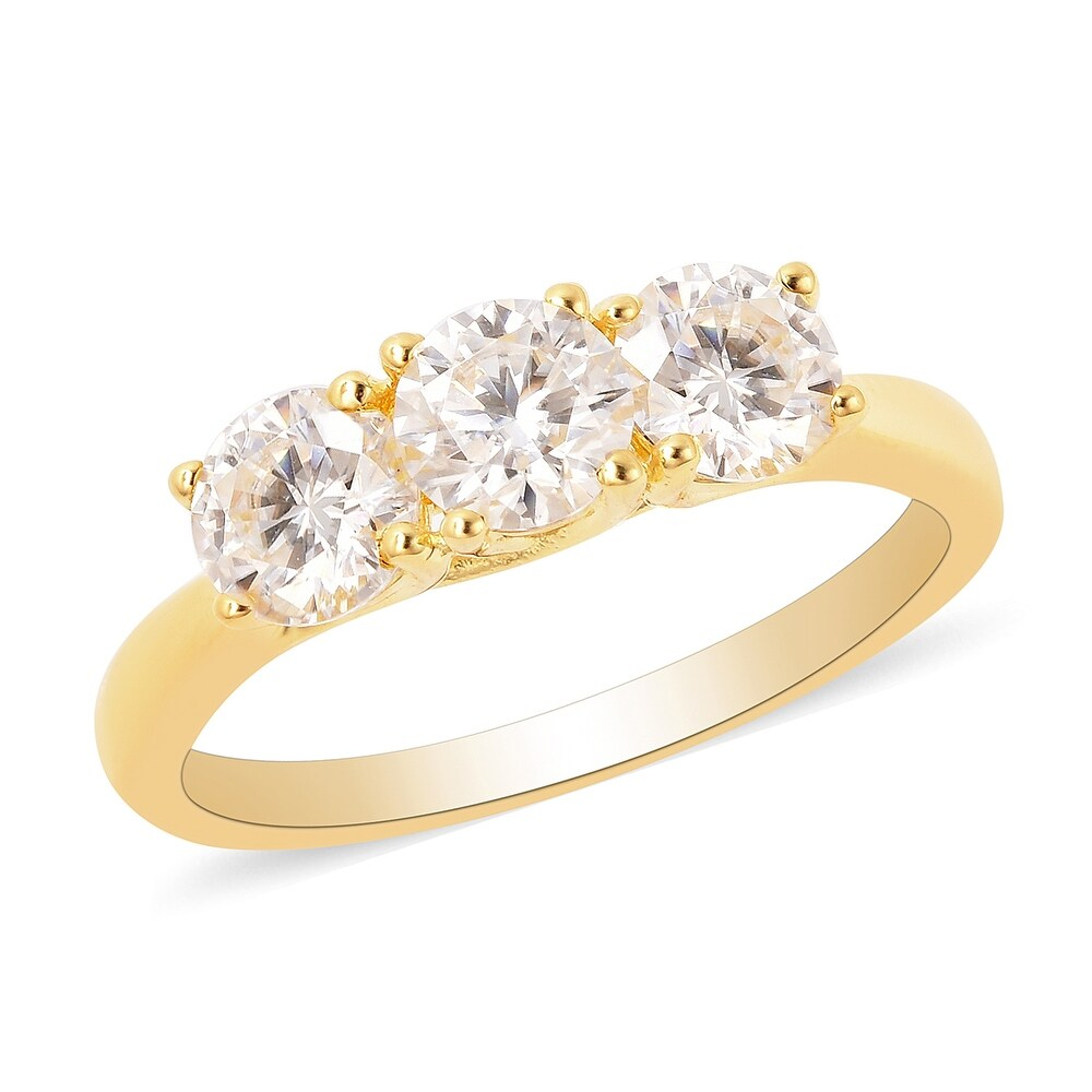 Vermeil Yellow Gold Over 925 Silver Moissanite Ring Size 6 Ct 1.2 (Yellow)