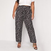 Plus Paper Bag Waist Belted Allover Print Pants