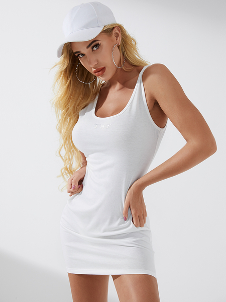 YOINS Letter Round Neck Sleeveless Thick Strap Dress
