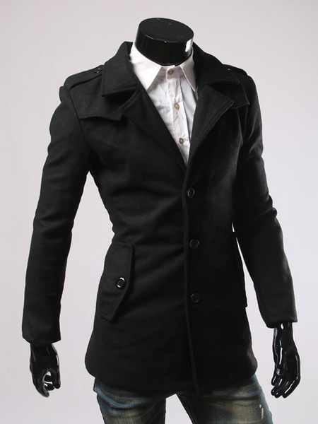 Milanoo Men Black Coat Long Sleeve Winter Coat Army Style Cotton Outerwear