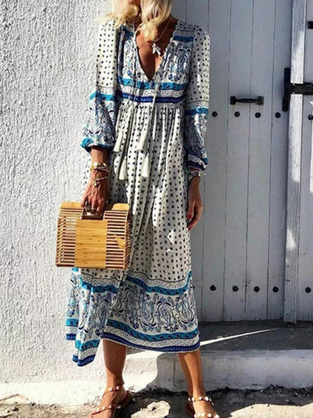 Milanoo Boho Dress V Neck Long Sleeves Tribal Print Summer Dress