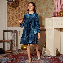 Samt Kleid mit Rueschenbesatz, Glitzer und Stern Muster