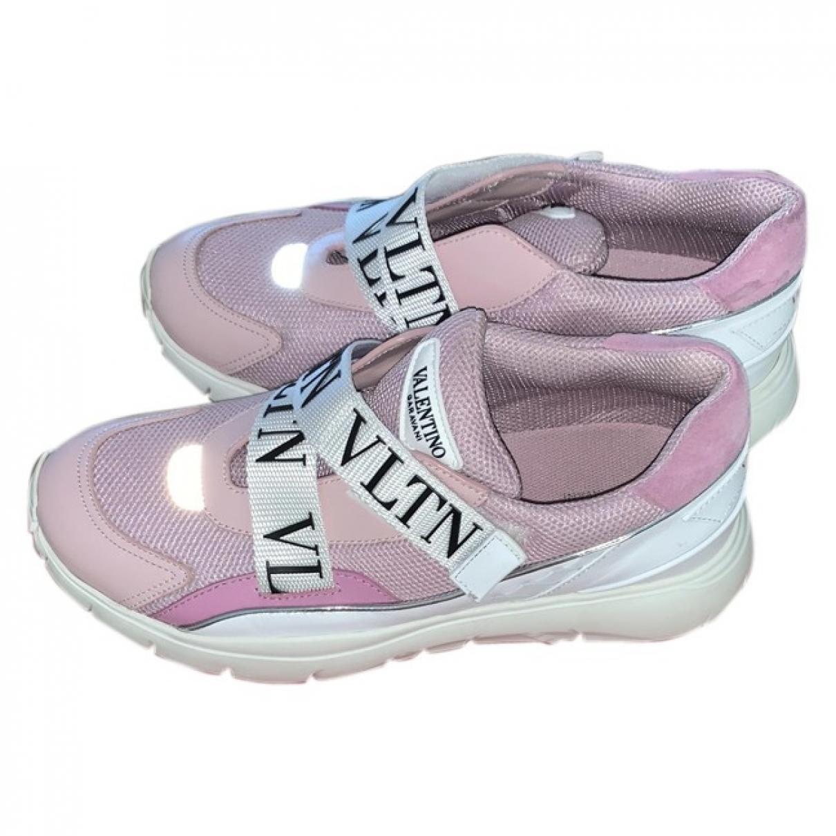 Valentino Garavani Heroes VLTN Pink Cloth Trainers for Women 37.5 EU