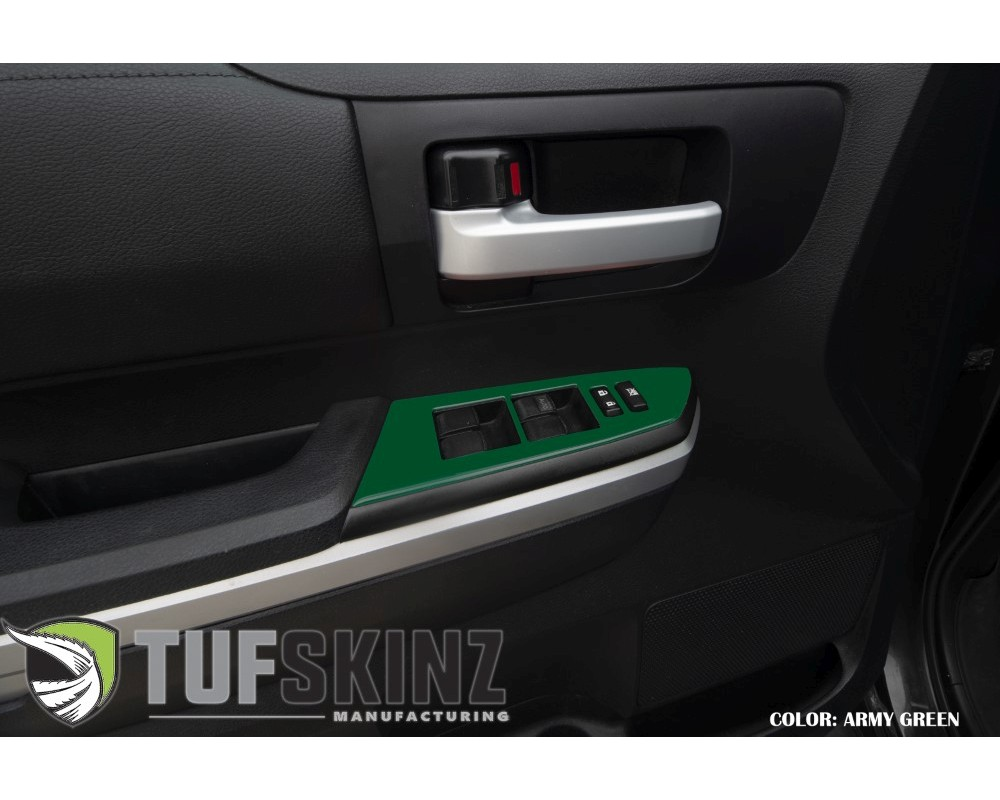 Tufskinz TUN027-TAG-G Front Door Switch Panel Accent Trim Fits 2014-2020 Toyota Tundra 2 Piece Kit In Army Green