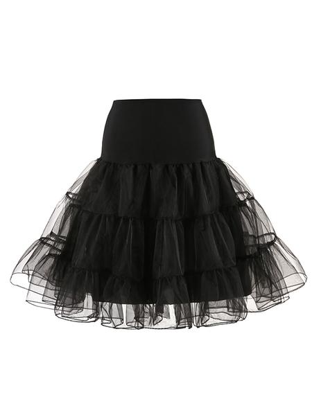 Yoins Black Mesh Pom Pom Hem Skirt With Lining