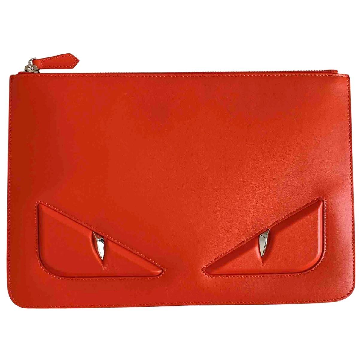 Fendi \N Orange Leather Small bag, wallet & cases for Men \N