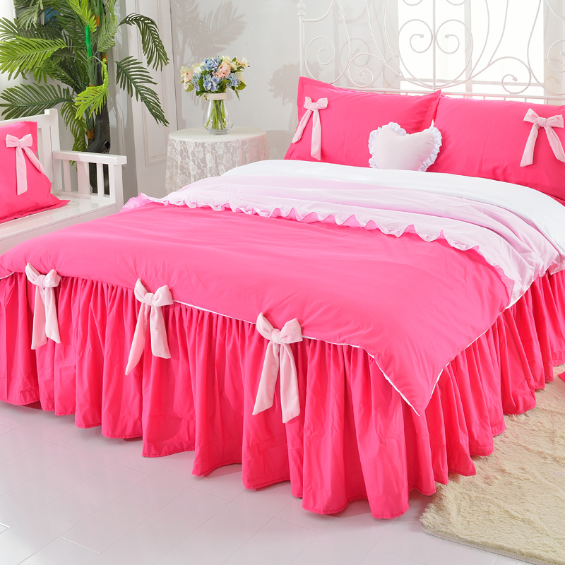 Princess Style Bowtie Design Polyester 4-Piece Bedding Sets