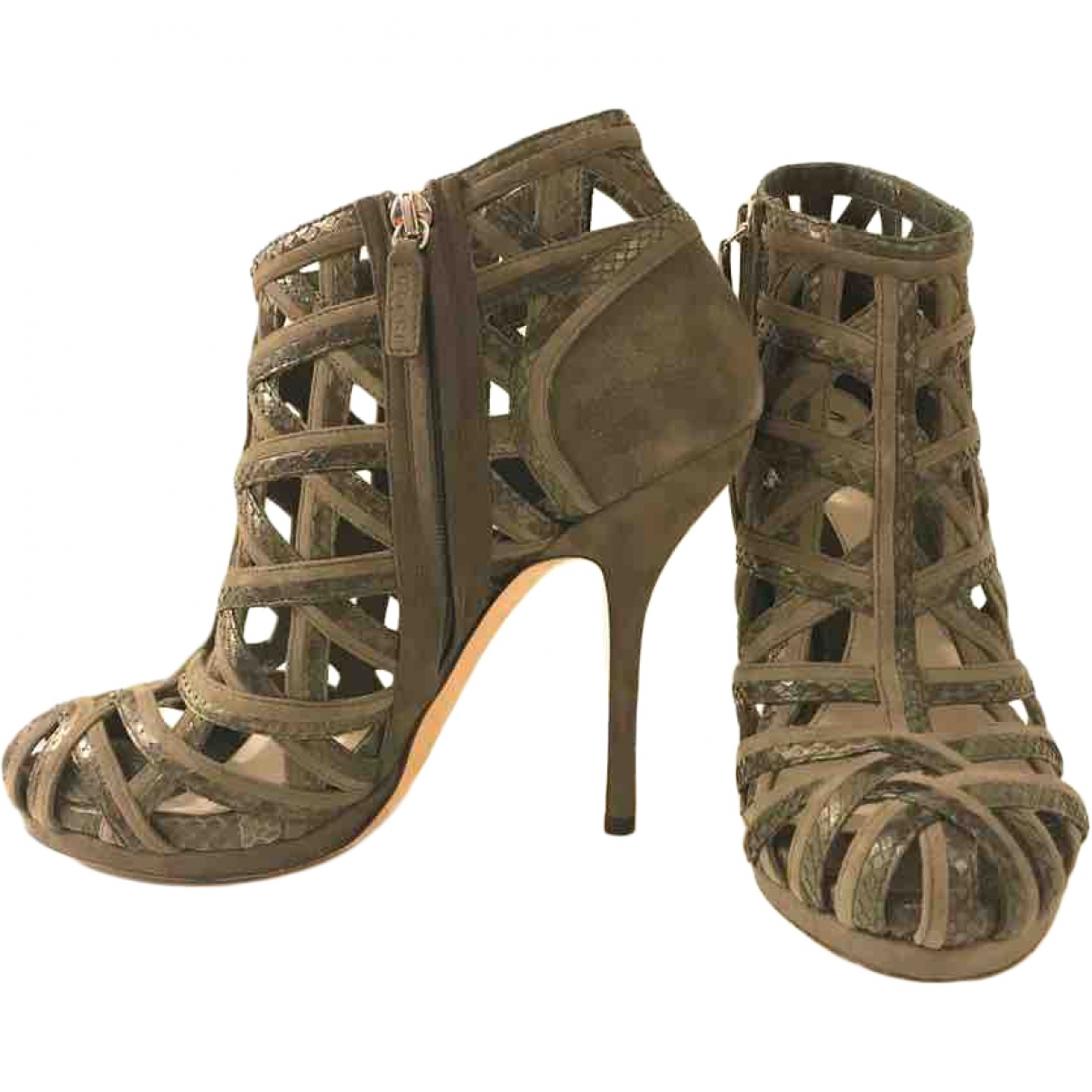 Gucci \N Khaki Suede Ankle boots for Women 39.5 EU