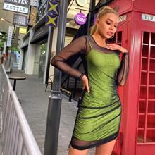 Verschiedenfarbig Ziehbaendchen Colorblocks Glamouros Kleider
