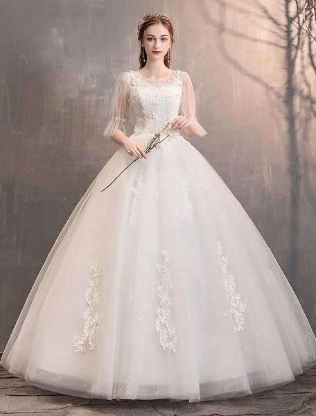 Milanoo Tulle Wedding Dress Ivory Lace Applique Flower Detail Half Sleeve Princess Bridal Gown