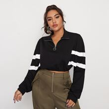 Plus Zipper Half Placket Striped Sleeve Sweatshirt