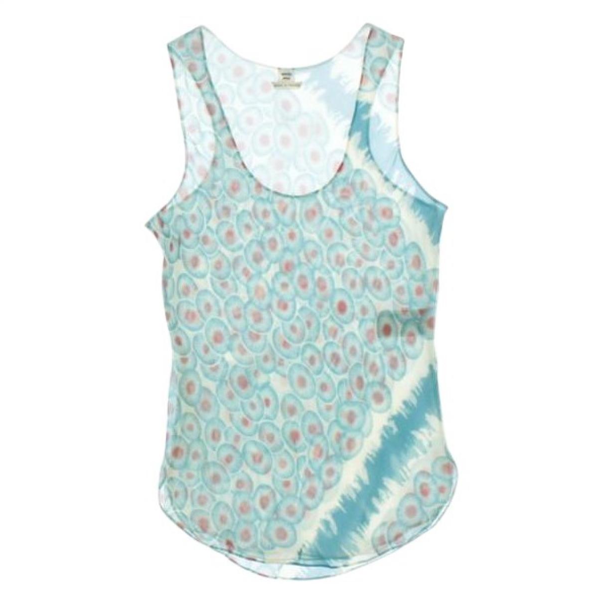 Hermes - Top   pour femme en soie - bleu
