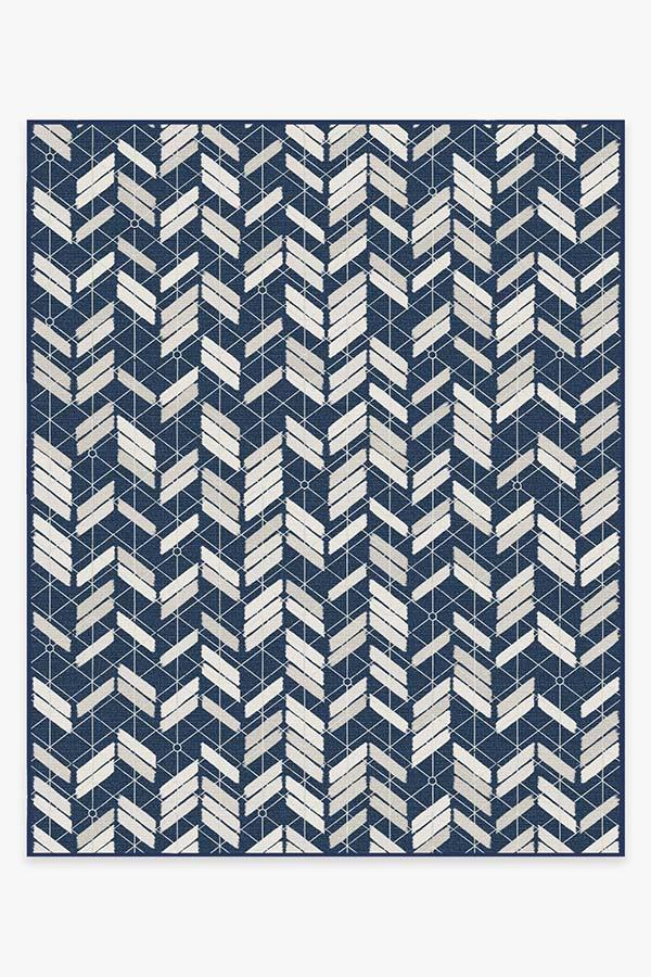 Washable Rug Cover & Pad   Outdoor Painted Chevron Navy Rug   Stain-Resistant   Ruggable   8'x10'