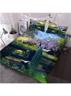 Peacock Garden 3D Animal Pattern Comforter 3-Piece Comforter Sets with 2 Matching Pillowcases