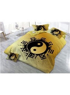 Taiji Yin Yang Pattern Printed Yellow 3D 4-Piece Bedding Sets/Duvet Covers