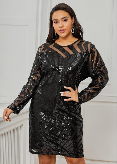 Sequin Detail Long Sleeve Plus Size Dress - XL