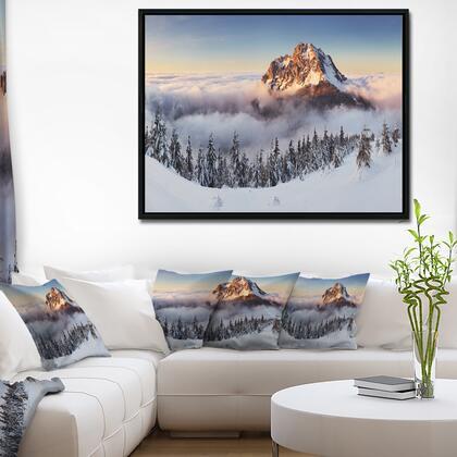 FL7041-42-32-FLB Winter Mountain Landscape - Photography Framed Canvas Art Print -