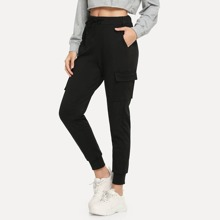 Pantalones con diseño de bolsillo de cintura con cordon