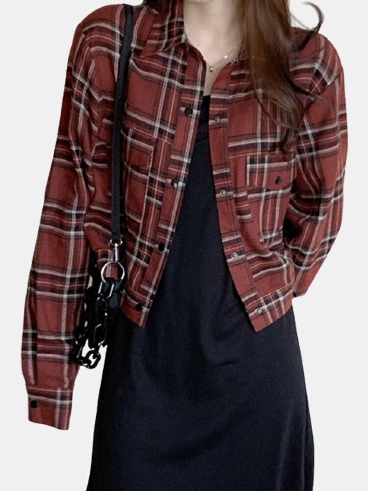 Plaid Print Pockets Lapel Collar Long Sleeve Casual Jacket