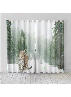 3D Vivid Tiger Pattern Printed Polyester Curtain