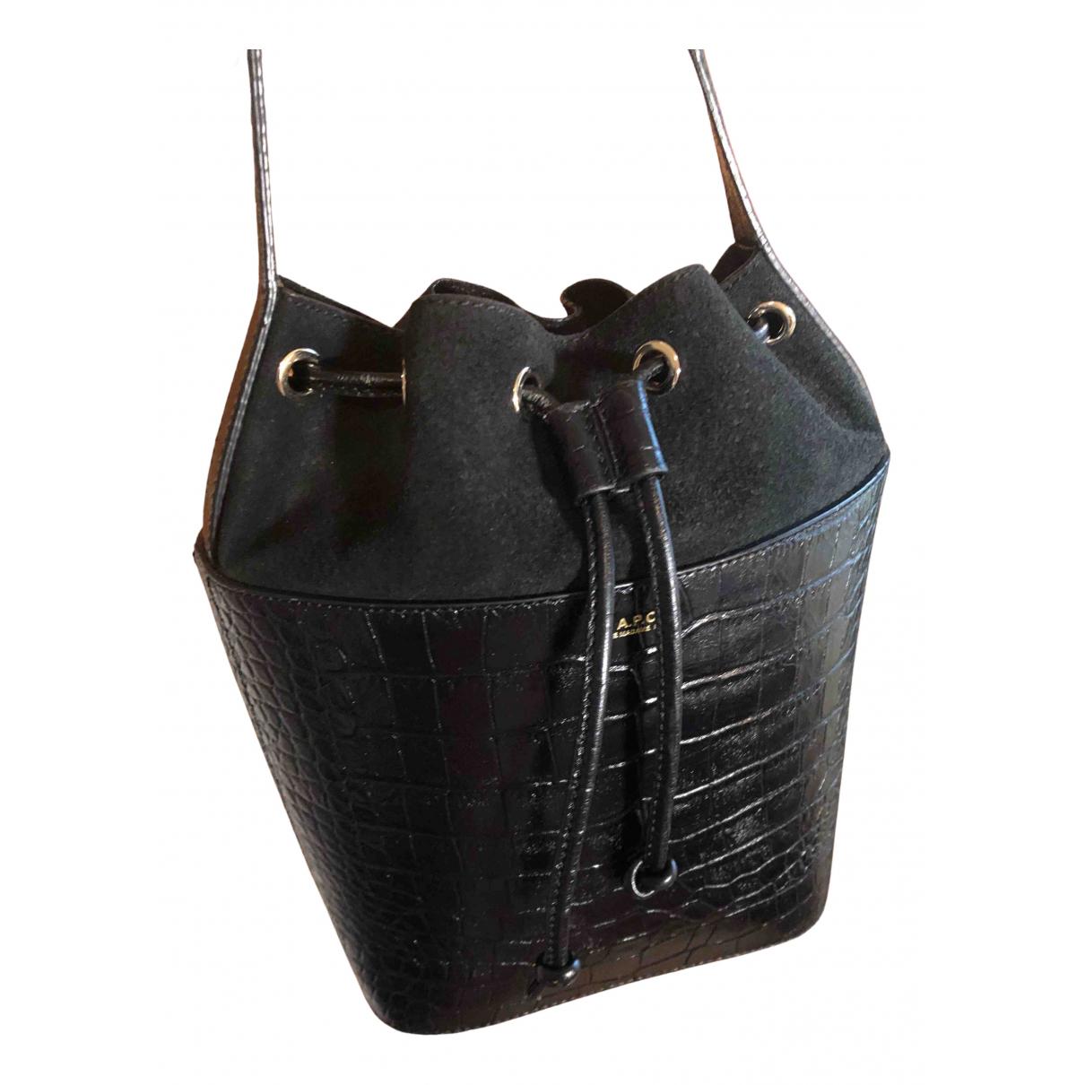 Apc - Sac a main   pour femme en cuir - noir