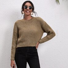 Drop Shoulder Rib-knit Sweater