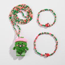 3 Stuecke Maedchen Jewelry Set mit Karikatur Dekor und Perlen