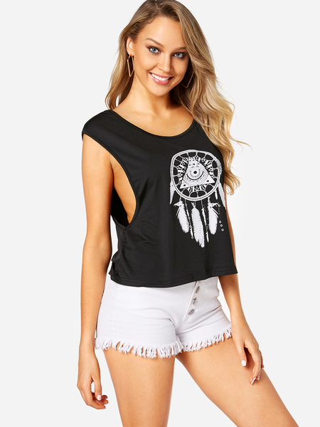 Yoins Black Cut Out Printed Round Neck Tank Top