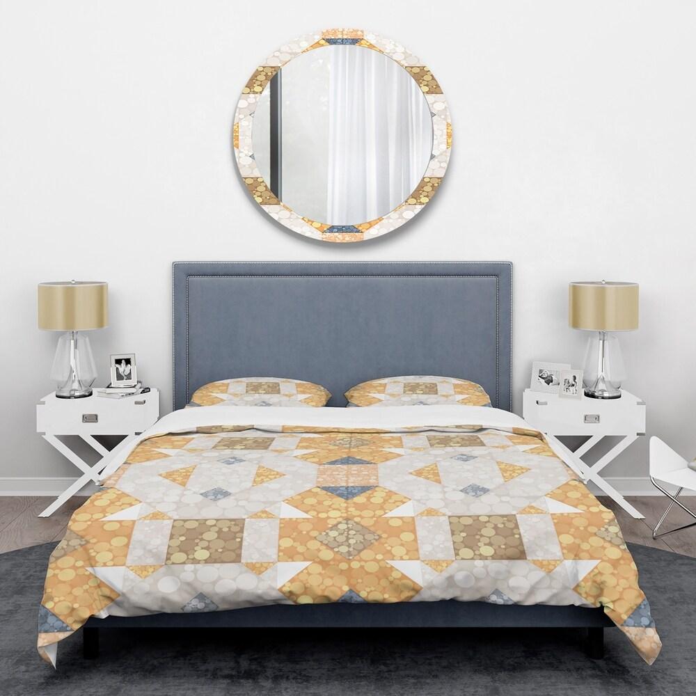 Designart 'Geometric Retro Design I' Mid-Century Duvet Cover Set (Full/Queen Cover +2 Shams (comforter not included))