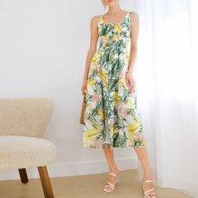 Einreihige Kleid mit U Kragen, gerafftem Einsatz und tropischem Muster
