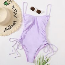 Drawstring Tie Side One Piece Swimsuit