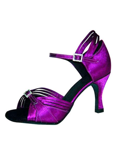 Milanoo Zapatos de bailes latinos de saten con pedreria de tacon de stiletto para baile de puntera abierta