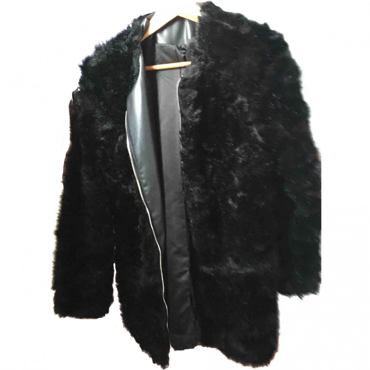 Zara - Manteau   pour femme en fourrure synthetique - noir