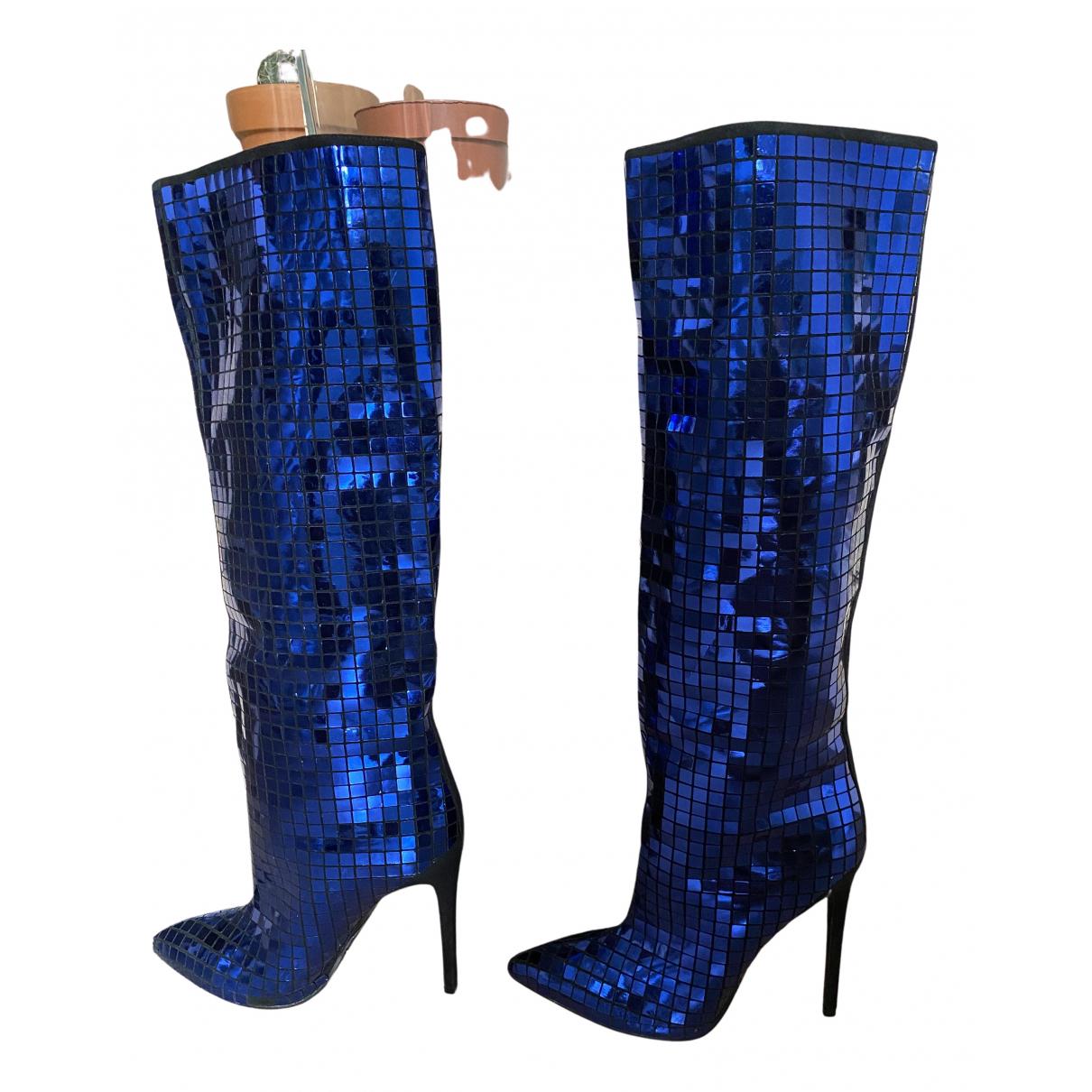 Balmain - Bottes   pour femme en a paillettes - bleu