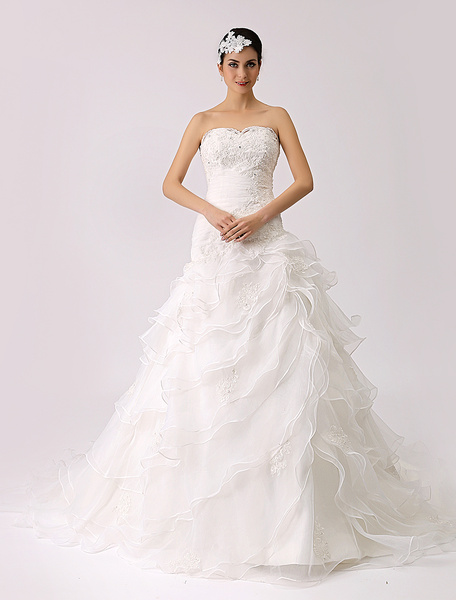 Milanoo Strapless Trumpet Wedding Dress with Tiered Ruffles