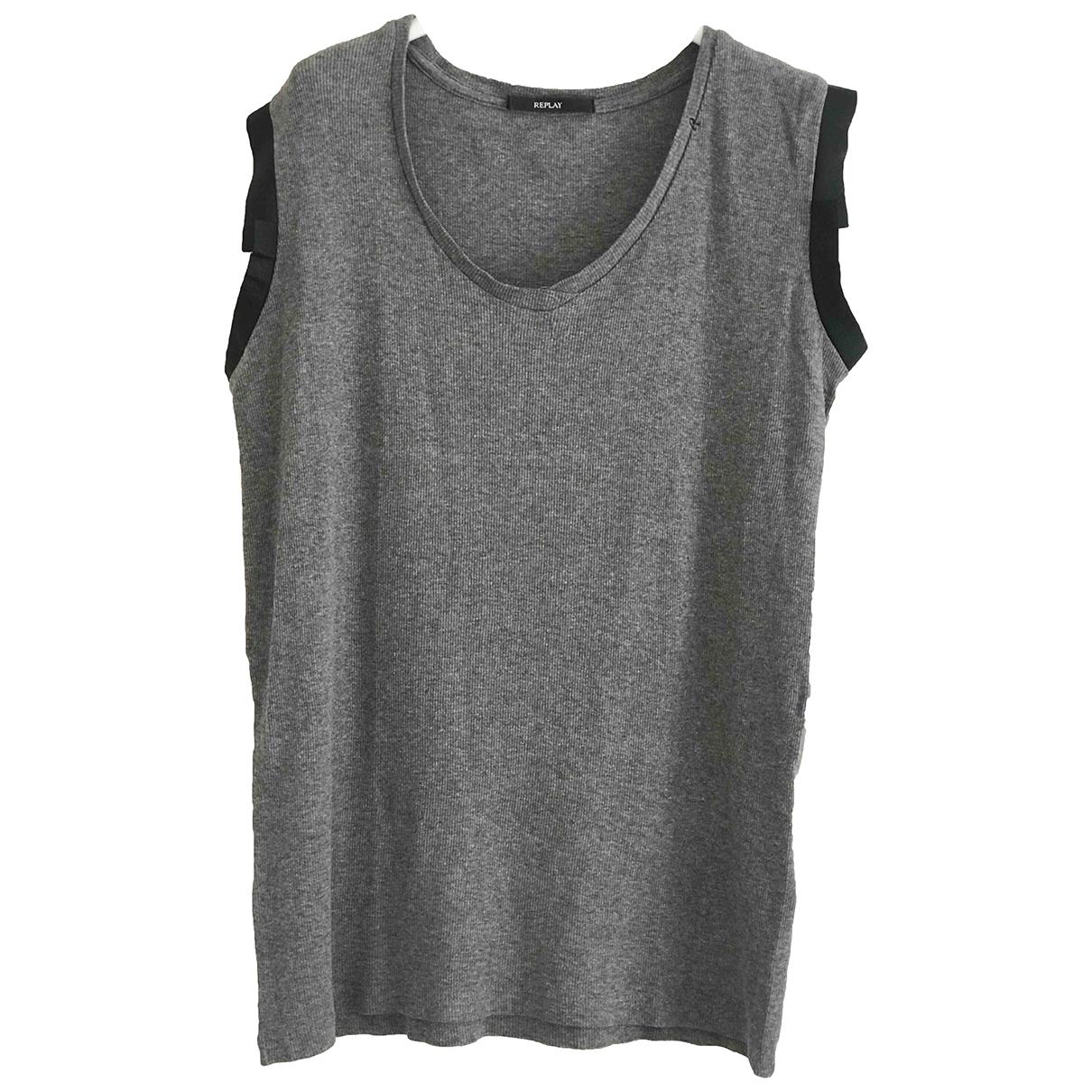 Replay - Top   pour femme en coton - gris