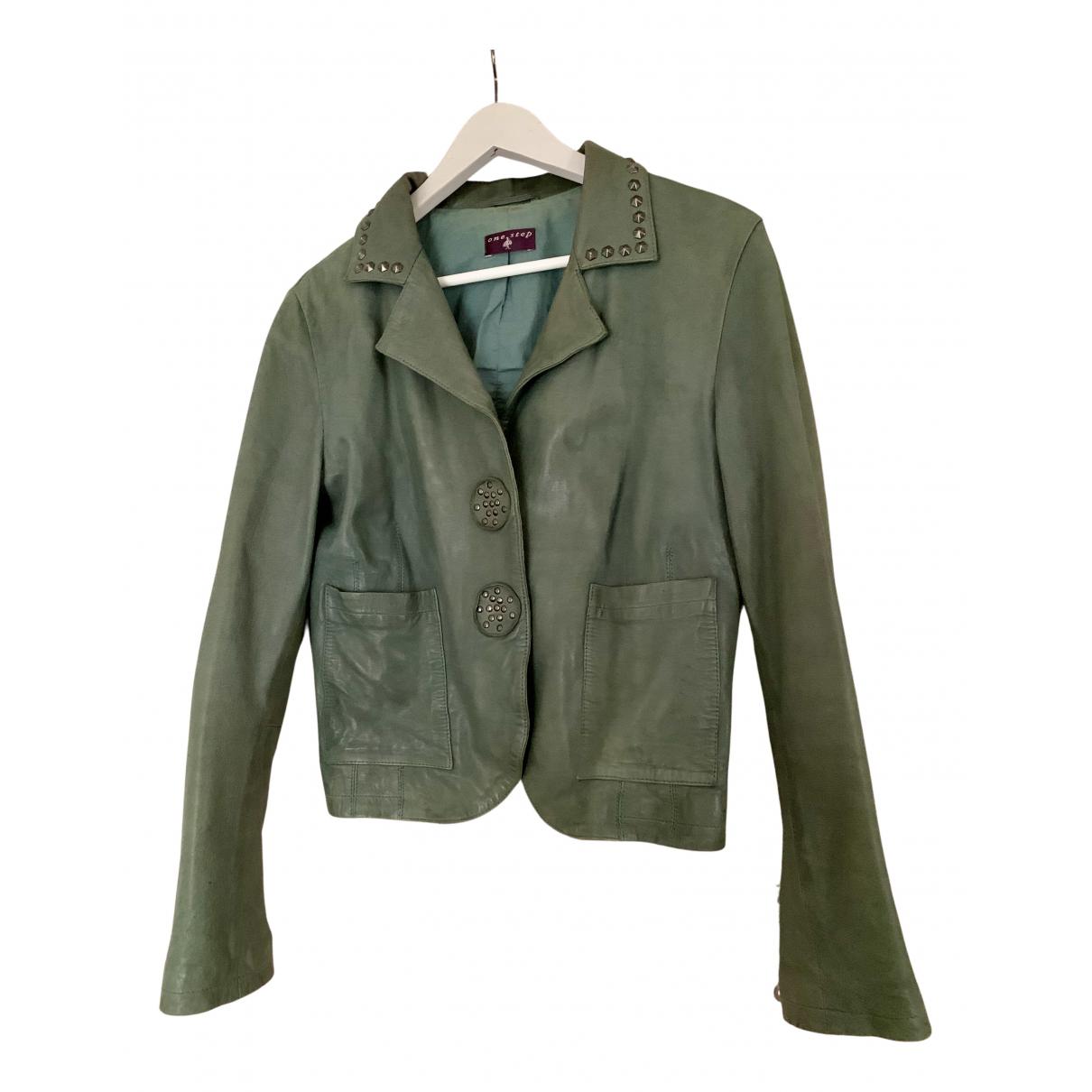 One Step - Manteau   pour femme en cuir - vert