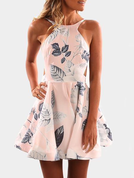 Yoins Pink Random Floral Print Backless Dress