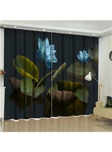 3D Blooming Lotus in Dark Night Printed Country Style Custom Living Room Curtain