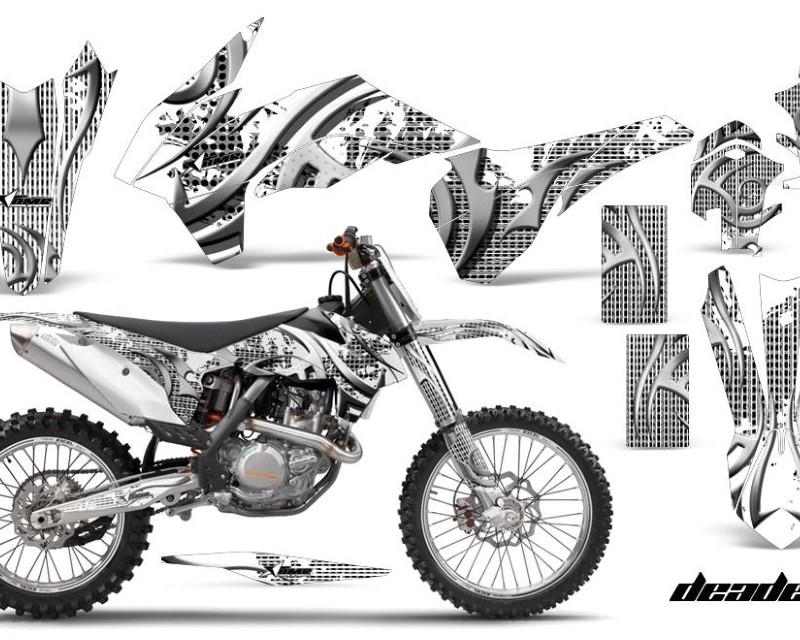 AMR Racing Graphics MX-KTM-C9-13-16-DN W Kit Decal Wrap For KTM SX/SXF/XCF/EXC/TC-F/XC/XCF-W 2013-2016áDEADEN WHITE