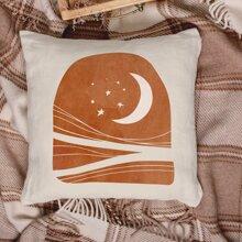 1 Stueck Kissenbezug mit Mond Muster ohne Fuellstoff