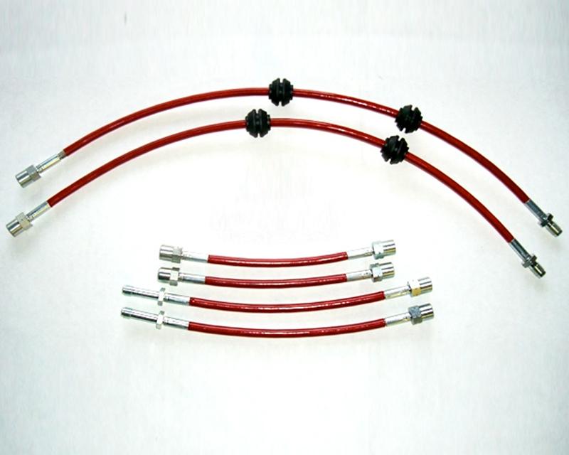 Evolution Racewerks BM-BRK001RD Red Stainless Steel Braided Brake Lines Full Kit BMW 128i 09-14