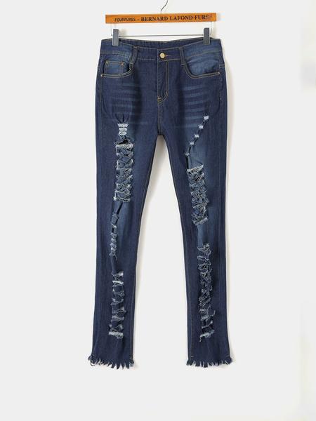 Yoins Blue Random Ripped Details Side Pockets Tassel Details Jeans