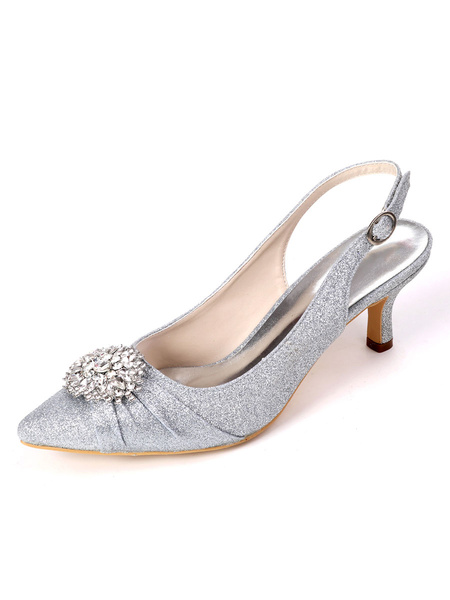 Milanoo Wedding Shoes White Sequined Cloth Buckle Pointed Toe Kitten Heel Back Slip Bridal Shoes