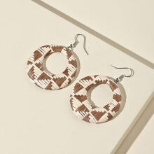 Hollow Out Braided Round Drop Earrings