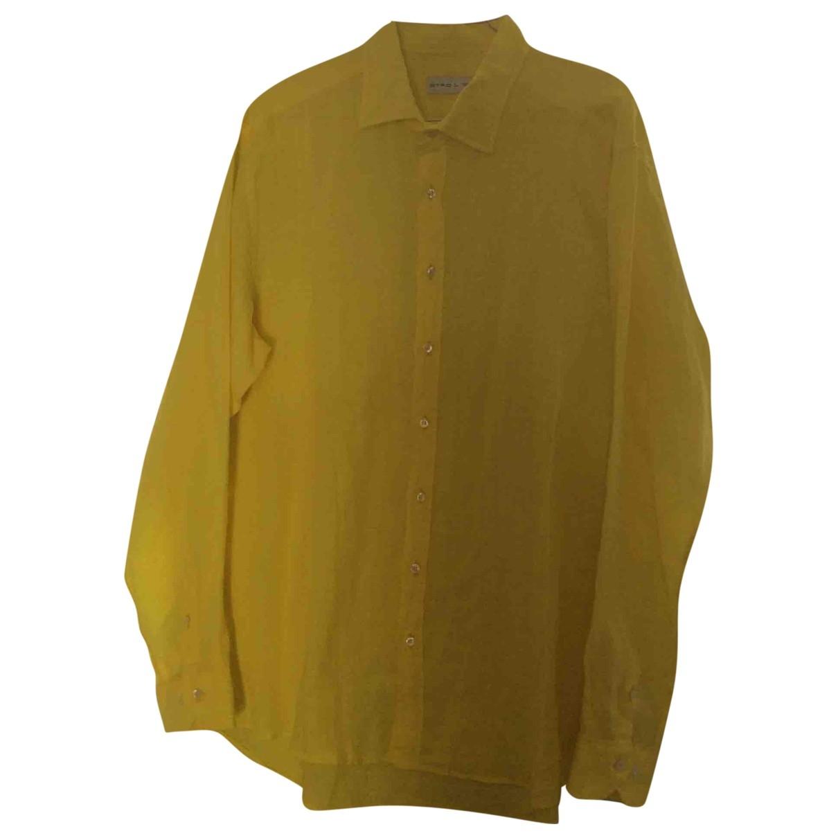 Etro - Chemises   pour homme en lin - jaune