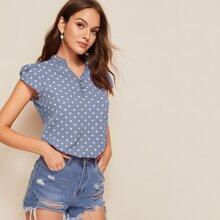Bluse mit Punkten Muster und Bluetenblattaermeln